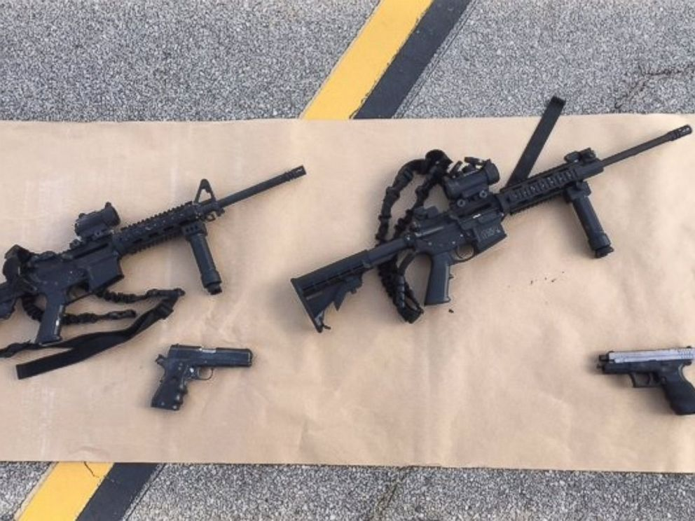 PHOTO: The San Bernardino County Sheriffs Office released photos of weapons and ammunition carried by the suspects accused in an officer-involved shooting on Dec. 2, 2015.