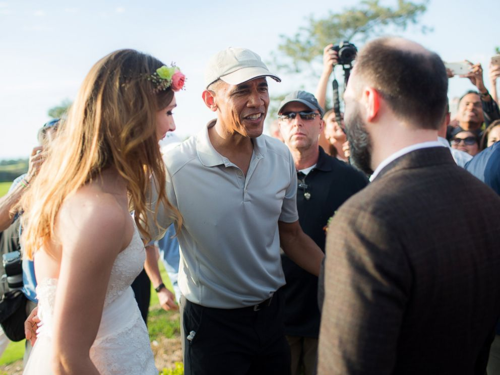 PHOTO: Stephanie and Brian met President Obama on their wedding day when he came to play golf at their venue, the Torrey Pines Golf Course in San Diego, California, on Oct. 11, 2015.